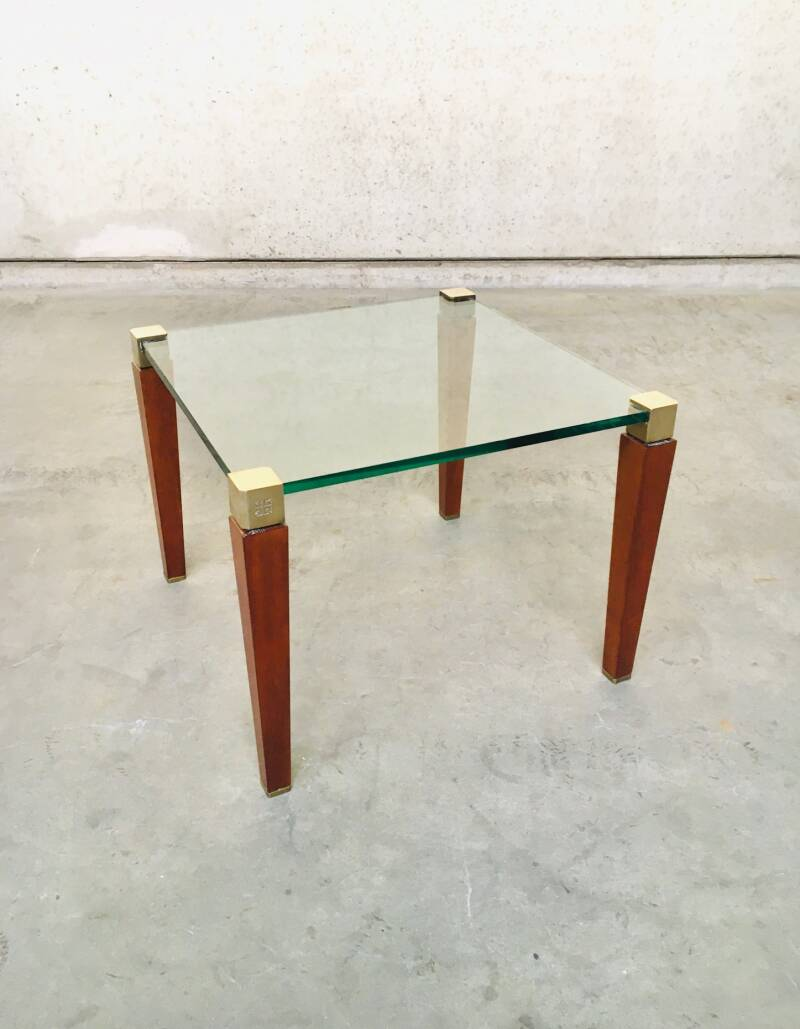 Modernist Design Brass, Wood & Glass Side Table by Peter Ghyczy, 1980's