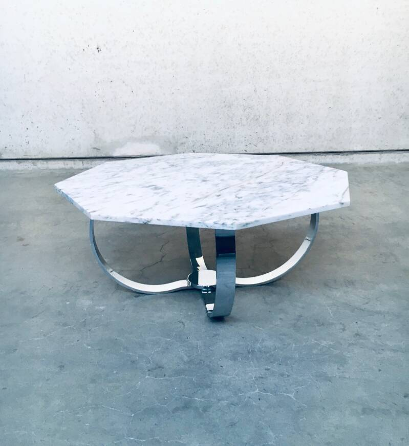 Octagonal Carrara Marble top Coffee Table with Chrome base, Italy 1960's