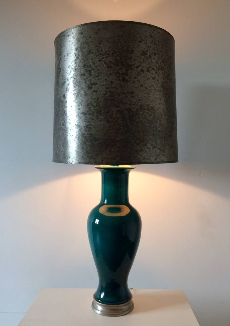 Midcentury 1960's Hotel Design XL Ceramic Lamp with Silver metal Shade