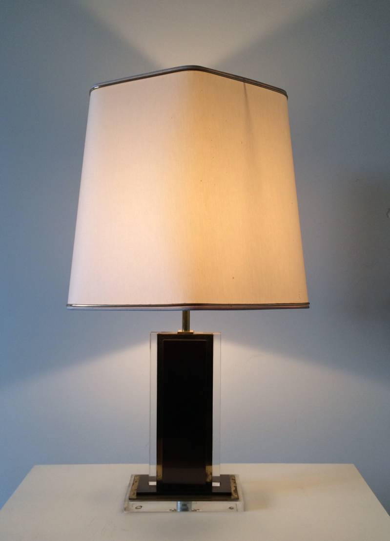 Midcentury Design 1970's Plexi & Brass Desk Lamp with Shade