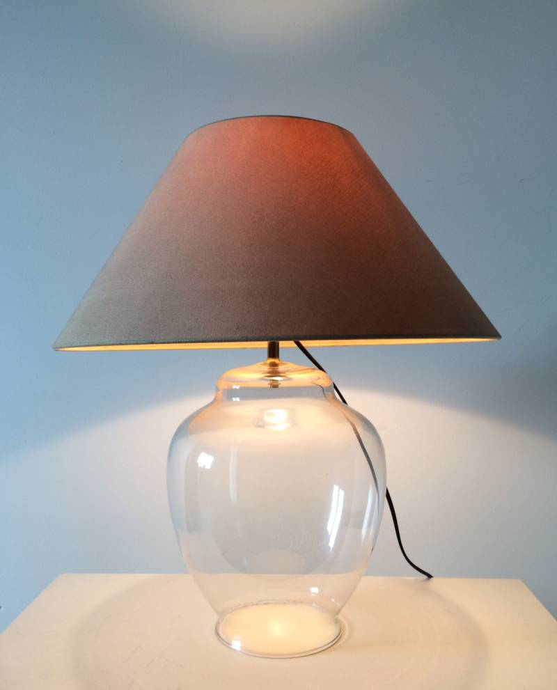 1980's Vintage Glass Vase Table Lamp w Shade