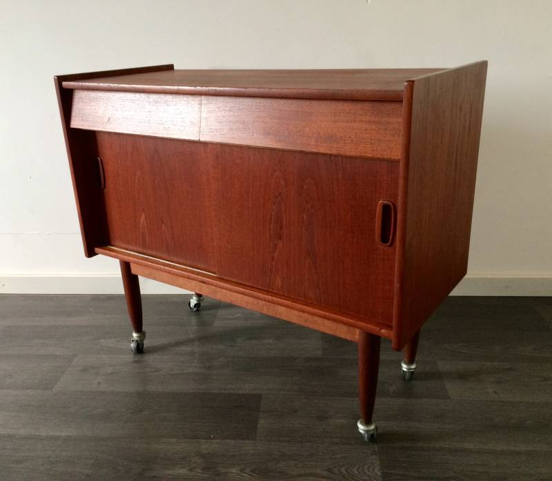 Midcentury Design Teak small Side Buffet Chest with 2 drawers 1960's