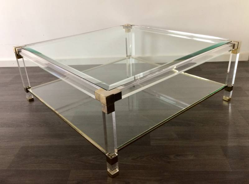 1970's Design Chrome Brass Plexi & Beveled Glass Square Coffee Table