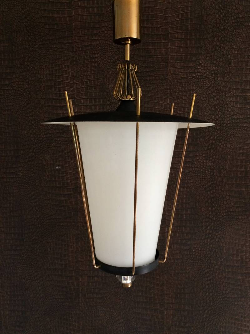 Maison Arlus French Design 1950's Large Hanging Lantern Pendant Lamp
