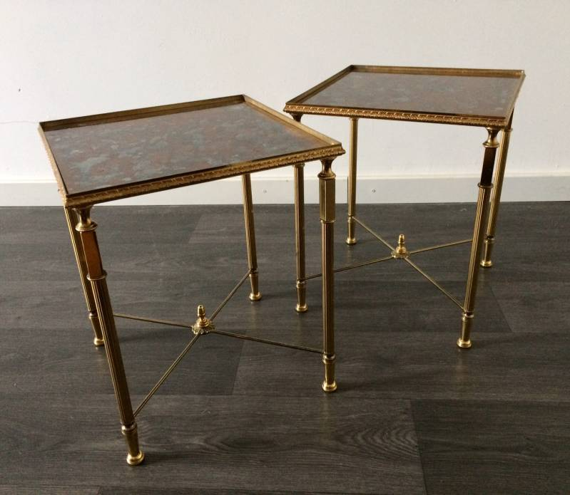 Midcentury Design French Empire set of 2 small Side Tables 1960's