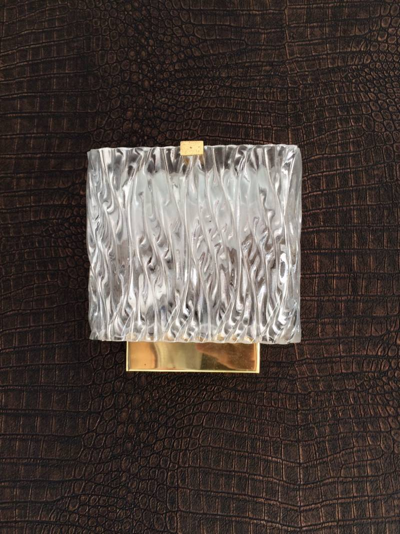 Hillebrand vintage 1960's Design Wall Sconce Lamp Ice Glass & Brass