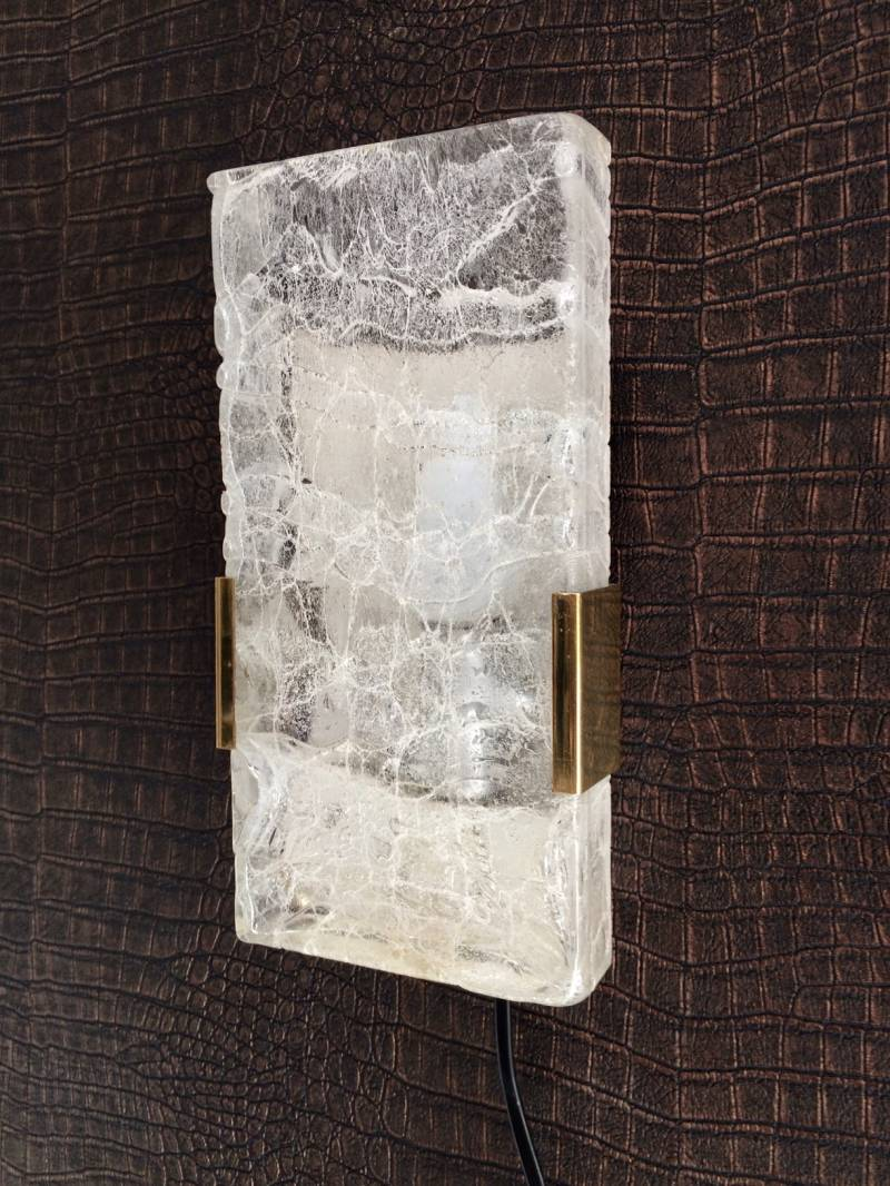 Midcentury Design 1960's Hillebrand Ice Texture Glass Wall Sconce Lamp