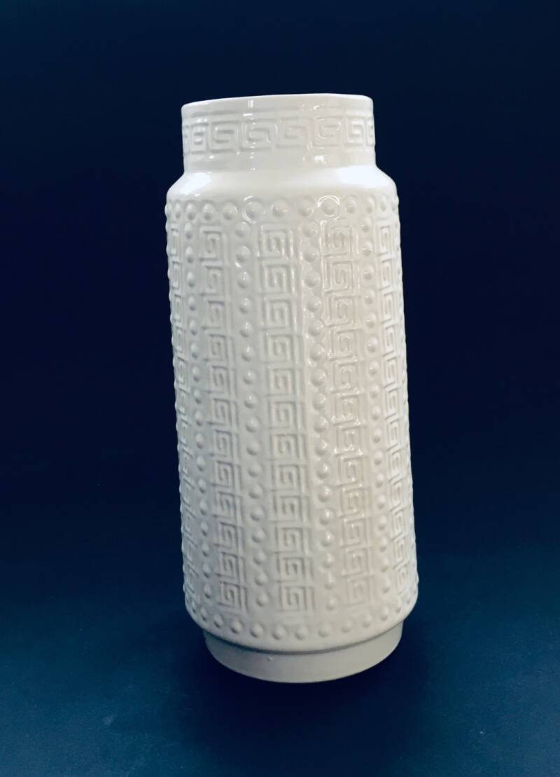 Vintage White Ceramic Vase by Scheurich, West Germany 1960's