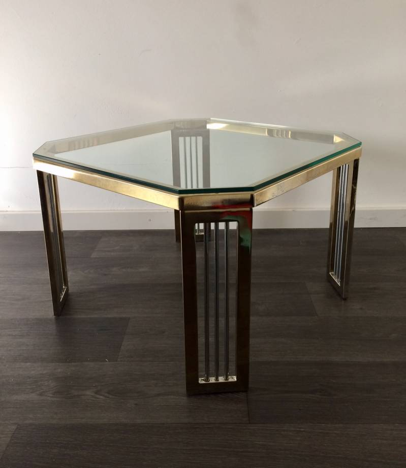 Hollywood Regency 1980's Design Brass & Glass Octagonal Side Table