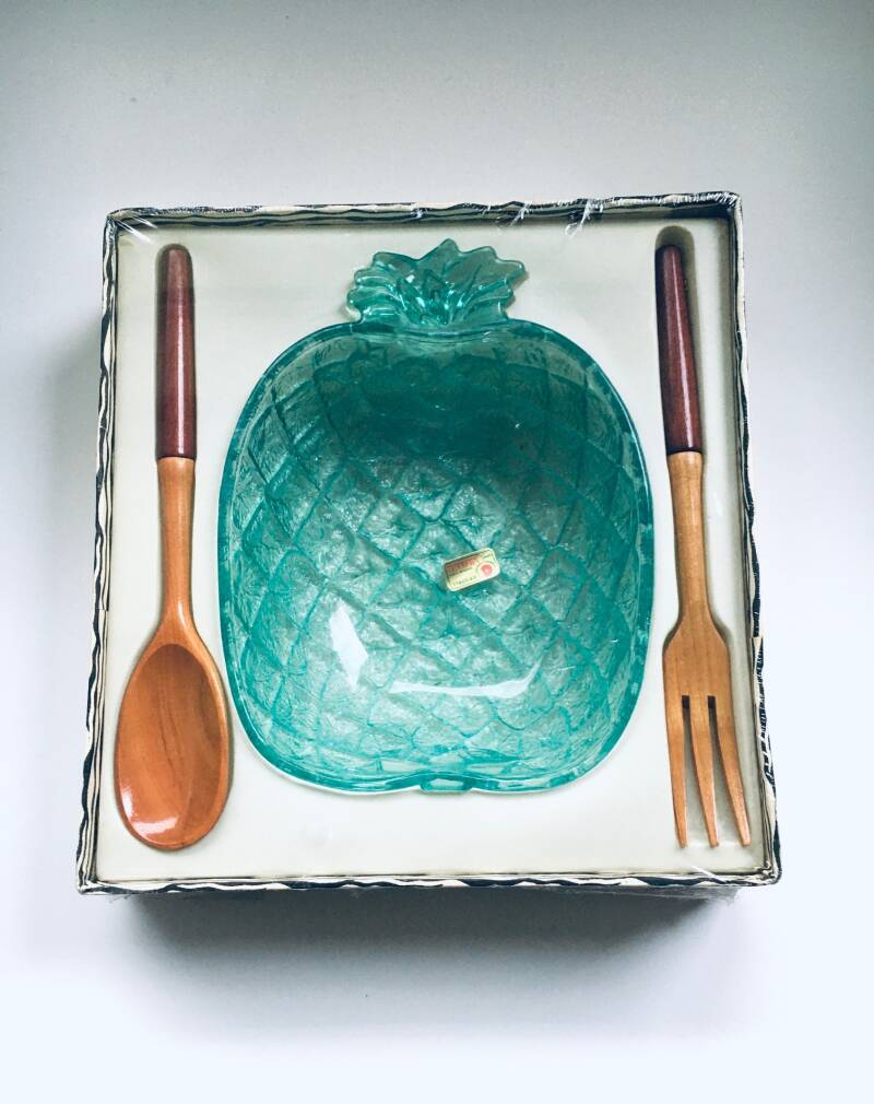 Lubiana Kristall Glass Pineapple Fruit Bowl MIB 1970's Italy