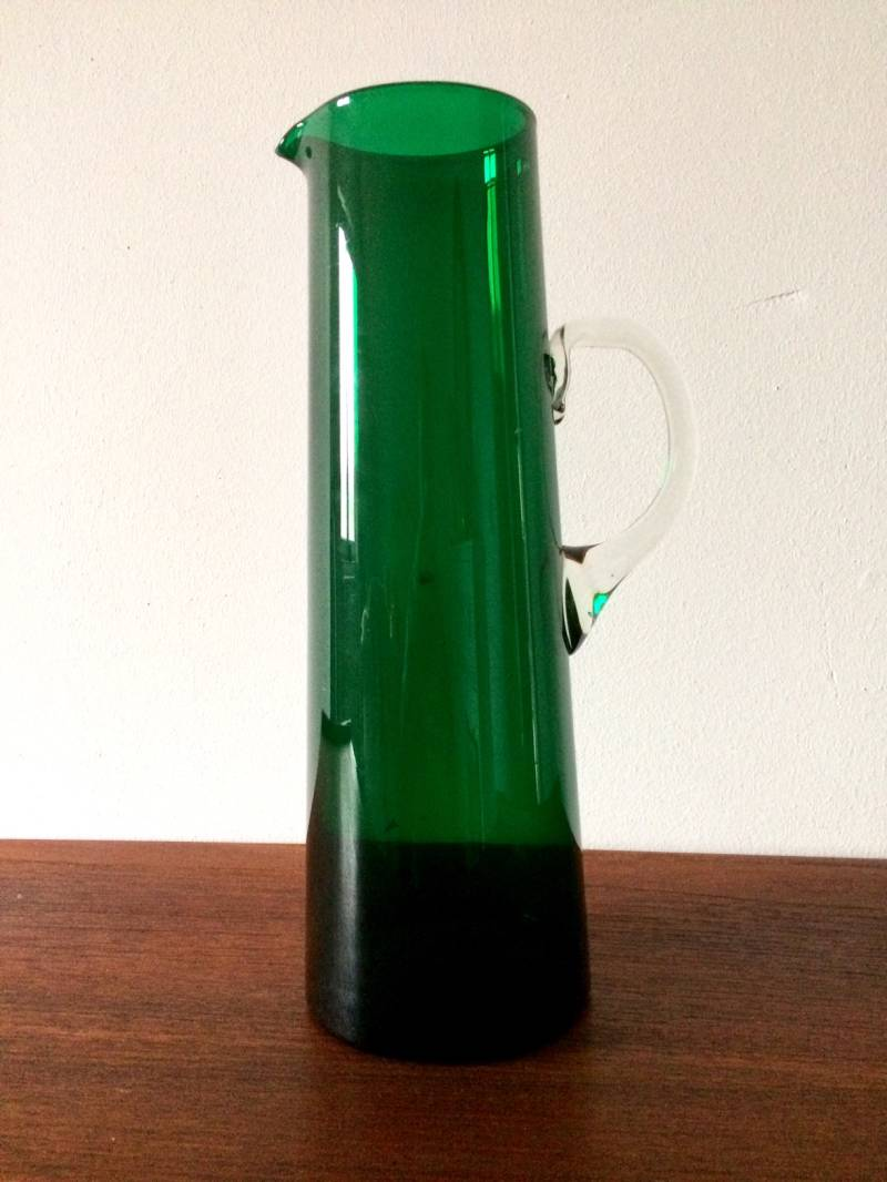 Midcentury 1960's Scandinavian Design Handblown Green Glass Pitcher