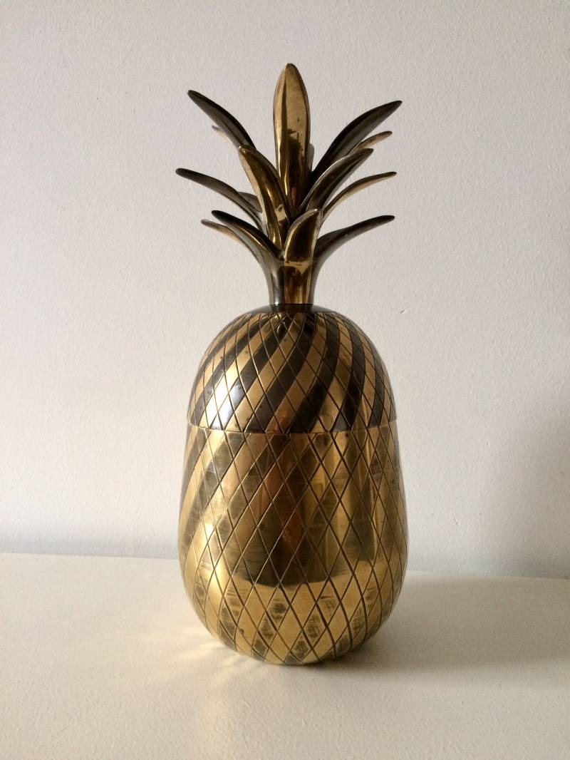 Vintage 1960's Italian Design Two Toned Brass Pineapple Ice Bucket Container