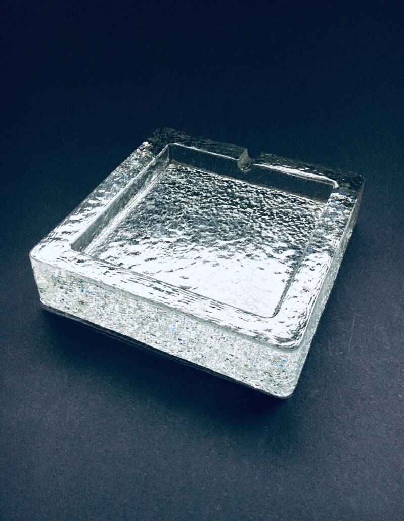 1970's Scandinavian Design Ice Glass square ashtray by Pukeberg, Sweden