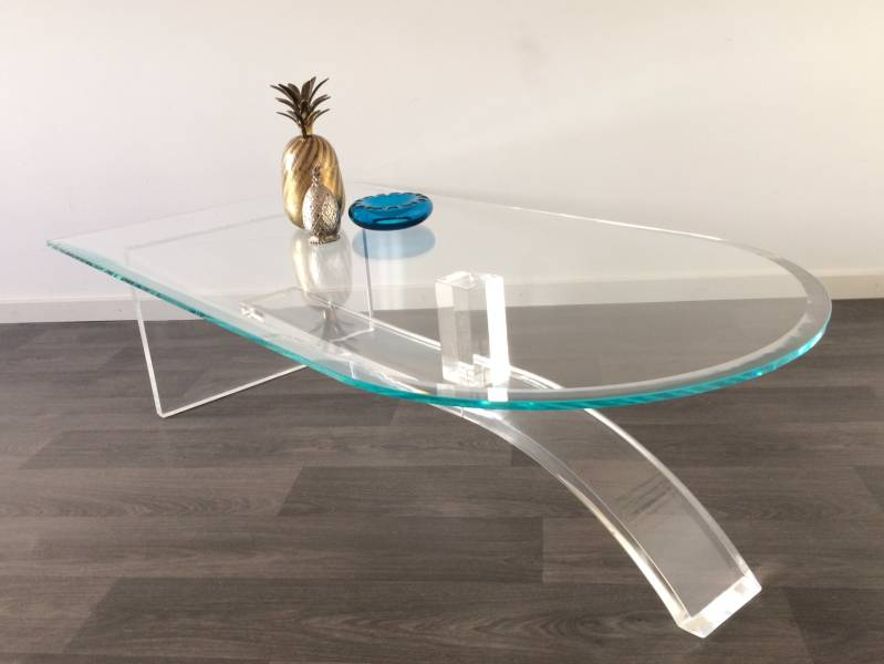 Midcentury 1970's Italian Design Beveled Glass & Lucite Coffee Table