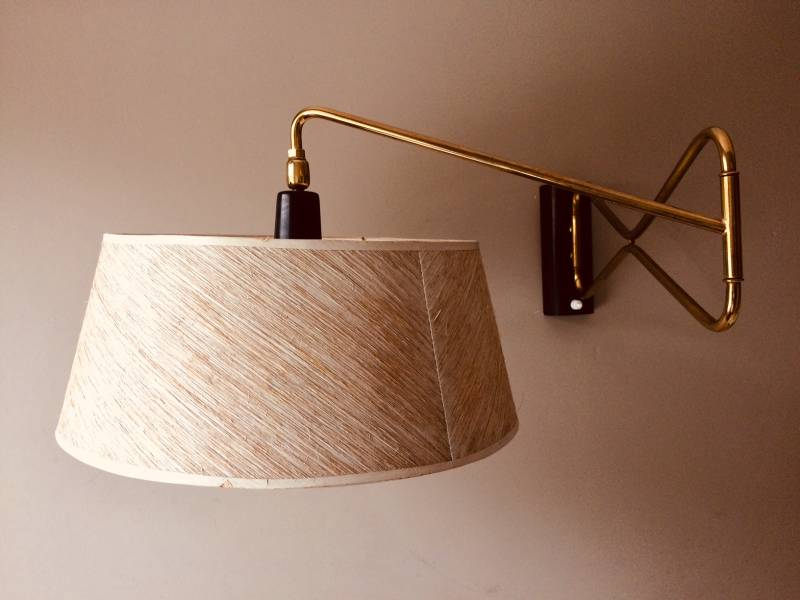 Midcentury 1950's Design René Mathieu for Lunel extendable Wall Lamp w Shade