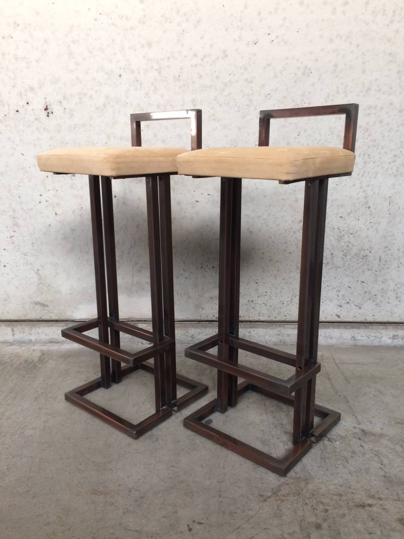 Hollywood Regency 1970's Design 2 Bar Stools by Belgo Chrom