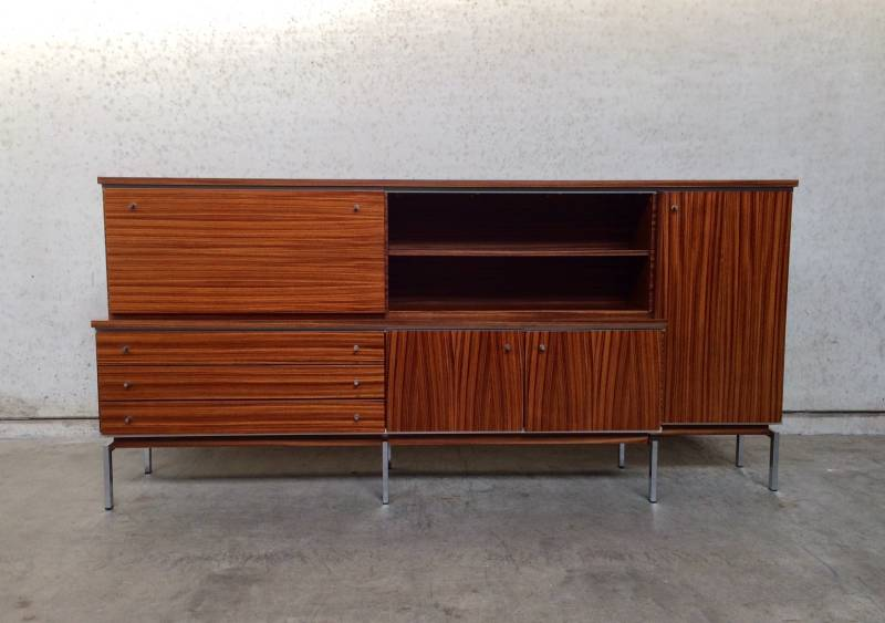 Midcentury Design Large Bar Buffet Chest Rosewood Sideboard Cabinet 1960's Belgium