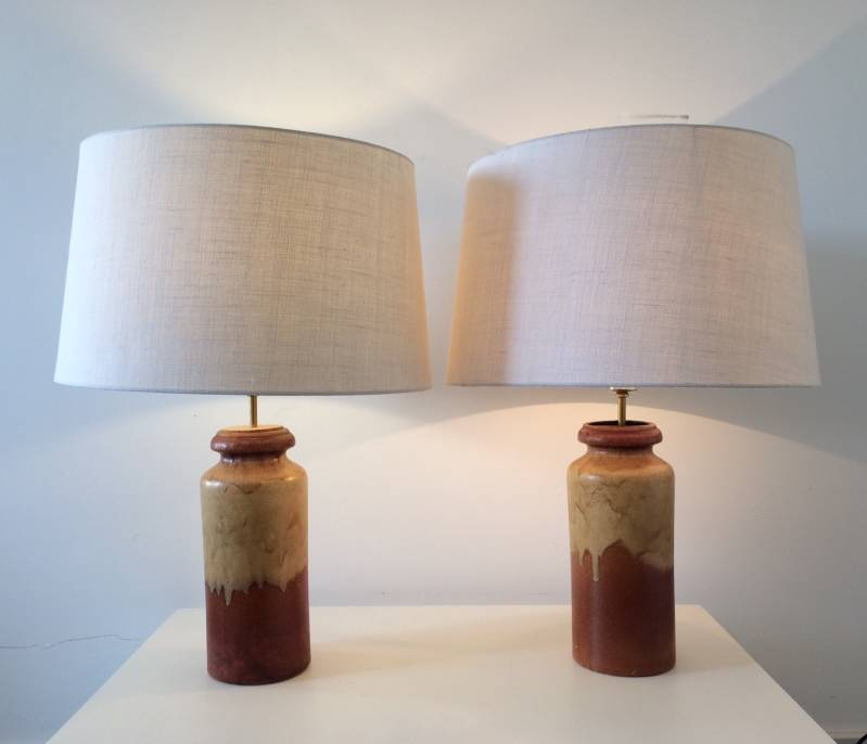 Midcentury 1960's Pair of Ceramic Table Lamps Scheurich Design Germany