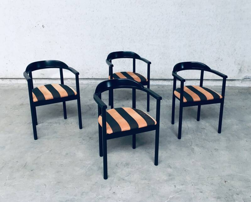1980's Italy Design Wood Dining Chair set of 4