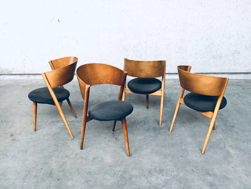 Midcentury Modern Design Dining Tripod Chair set by MI, Spain 1960's