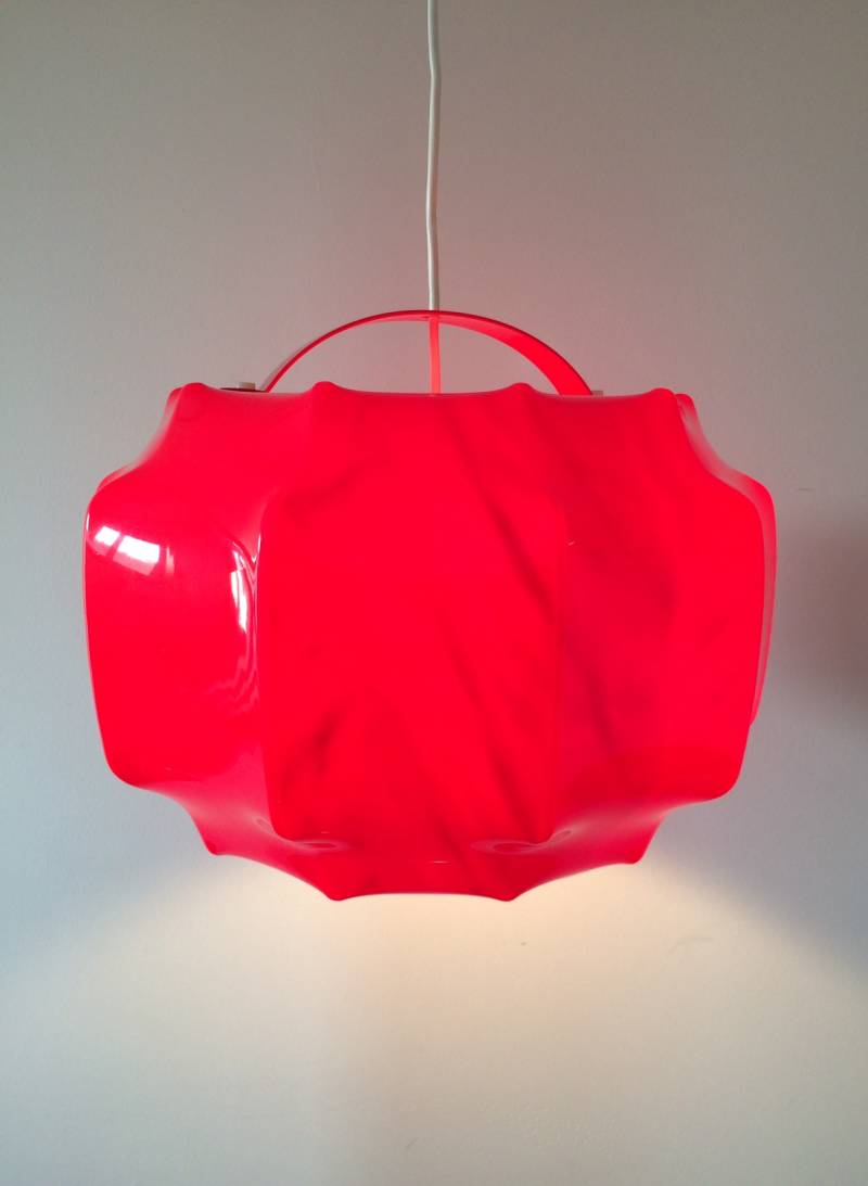 Midcentury 1960's Design Red Pendant Hanging lamp by Ilka, Germany
