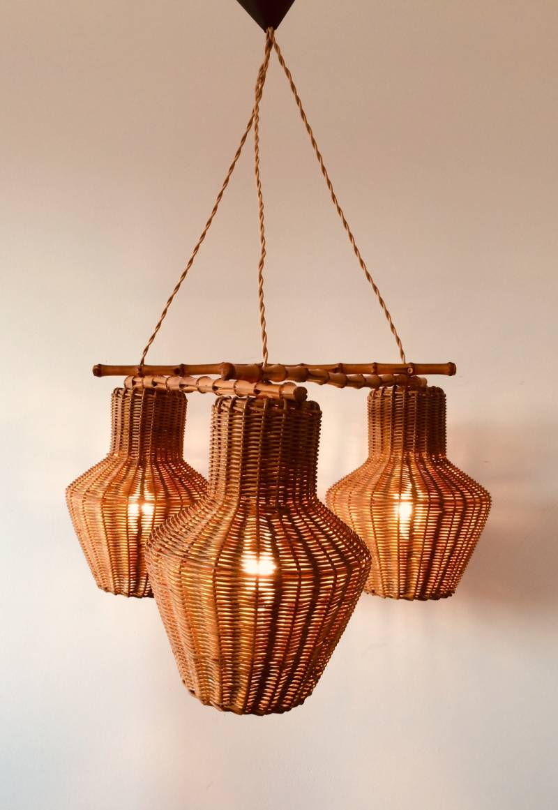 Midcentury 1960's French Design 3 wicker basket & bamboo Pendant hanging lamp