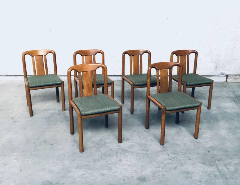 1970's German Design set of 6 Dining Chairs in Oak