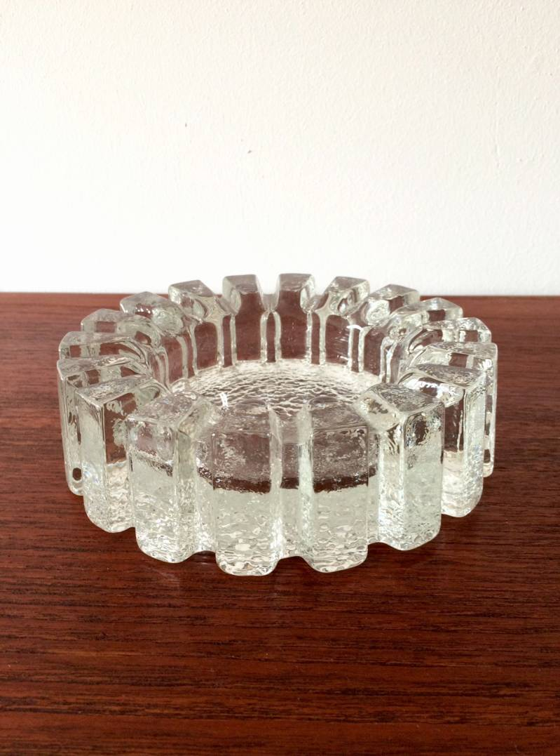 Scandinavian Design Vide Poche heavy clear ice texture glass ashtray by Pukeberg Sweden
