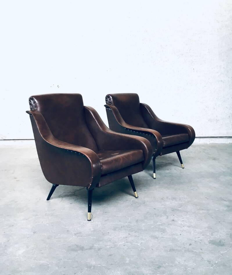 1950's Midcentury Modern Design Faux Leather Lounge Arm Chair Set of 2