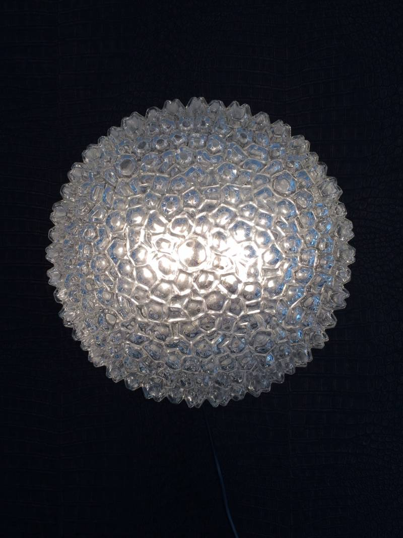 1960's Helena Tynell Ice Structure Glass Flush Mount Sconce Wall Lamp Glashütte Limburg Design