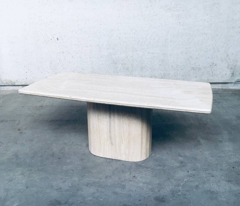 Postmodern Design Travertine Marble Dining Table, Italy 1970's
