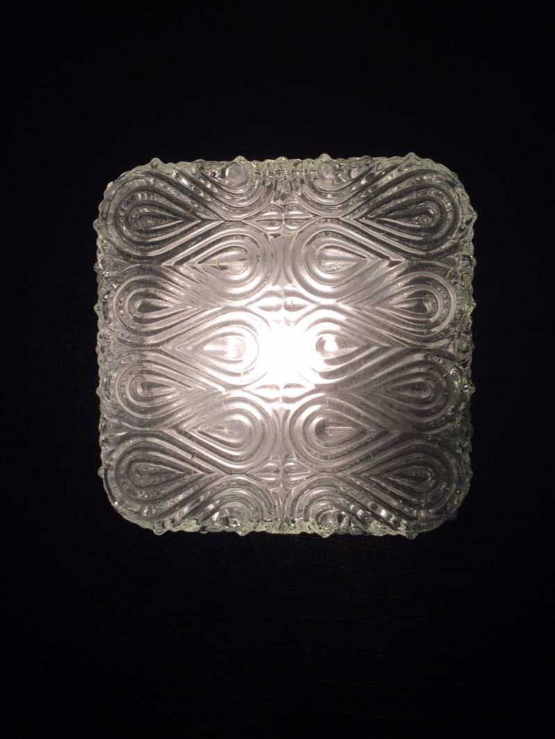 1960's Square Infinity Structure Glass Flush Mount Sconce Wall Lamp