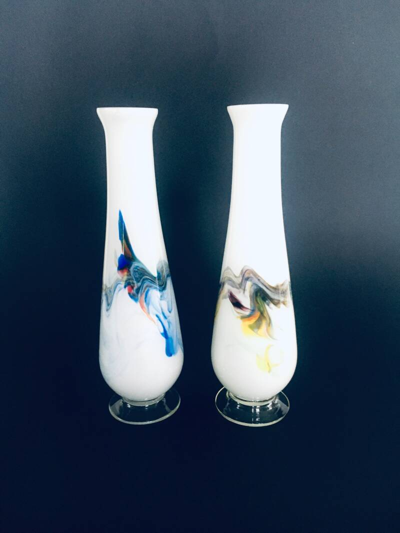 Vintage Swirl Colored Glass Vase set, Murano Italy 1960's