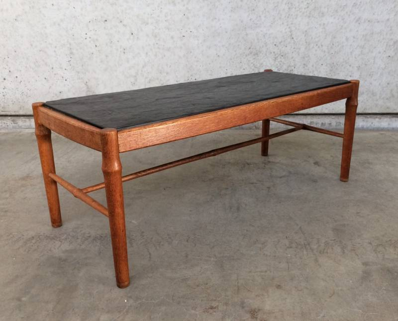 Midcentury modern 1960's Design Natural Stone & Oak Coffee Table