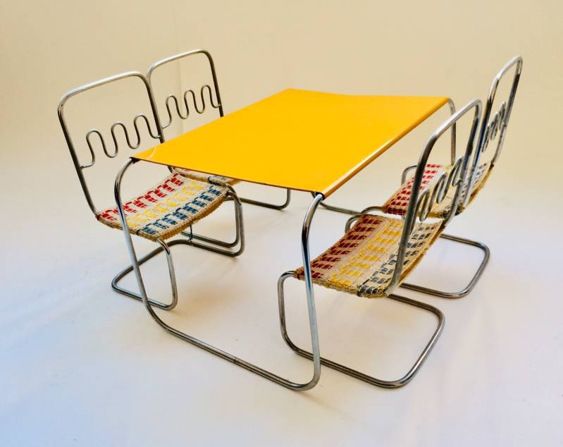 Vintage Czech Design Toy Doll House metal Furniture 1950's Bauhaus Style