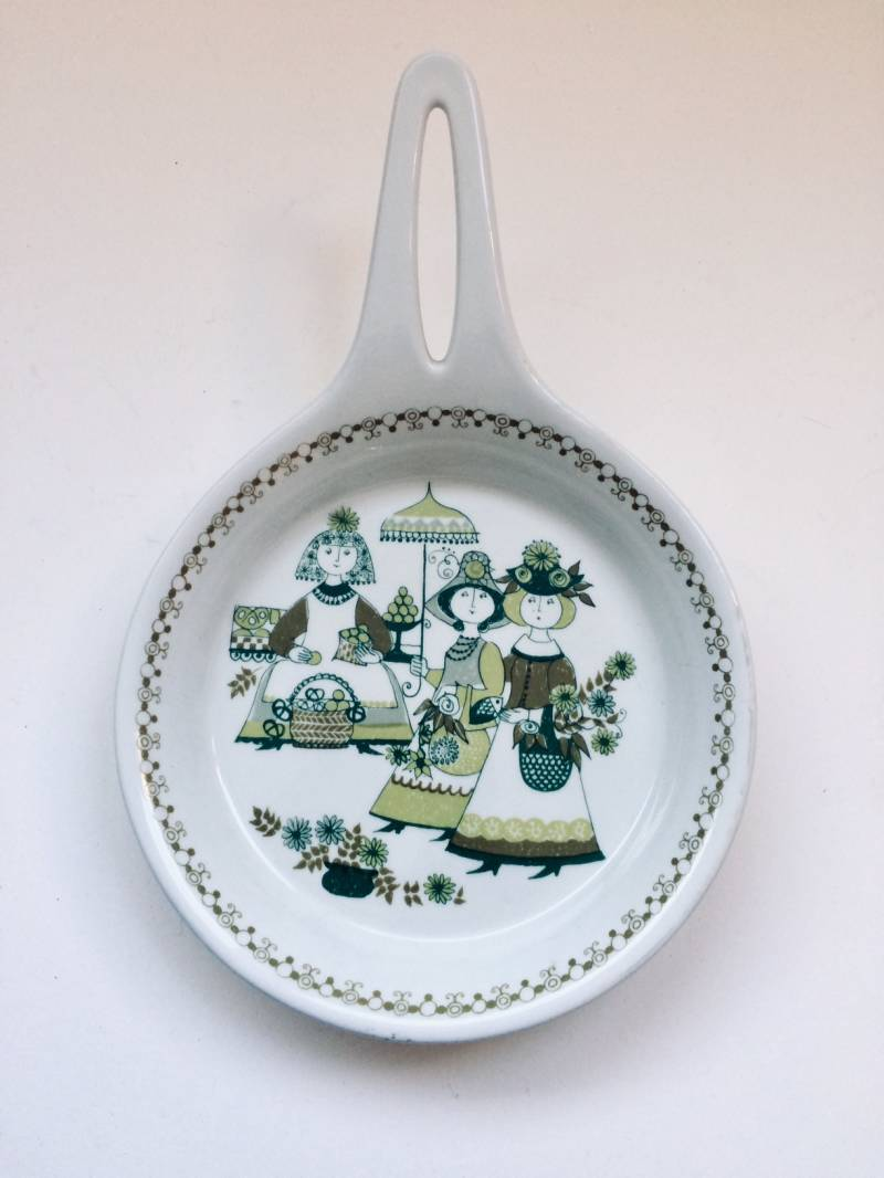 Vintage Turi-Design Market series Ceramic Serving Skillet Dish Figgio Norway 1970's