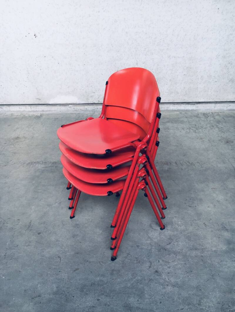 1980's Industrial Design Stacking Dining Chair set of 4 by CAR Cadzand