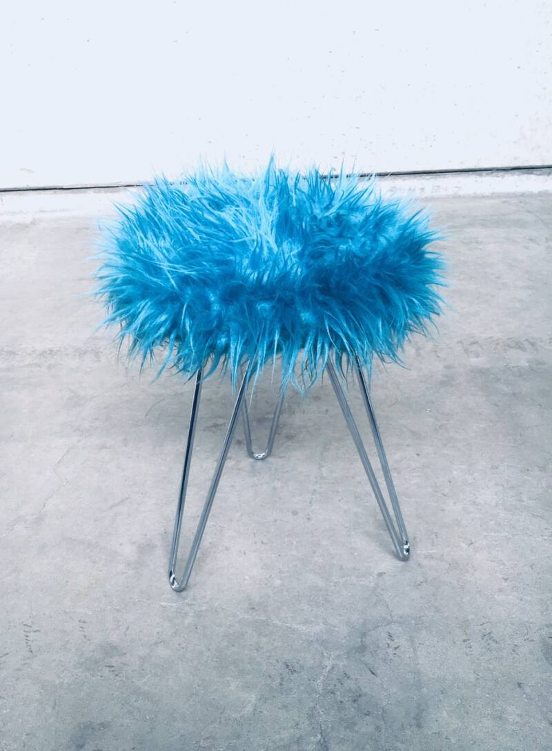 Vintage 1960's Funky Electric Blue Hairy Tripod Stool