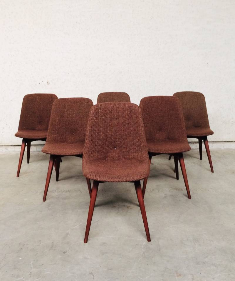 Midcentury 1960's Scandinavian Design Rosewood & Woven wool seat dining chairs Chair set of 6