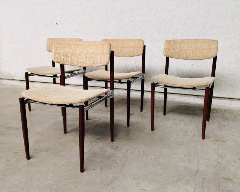 Midcentury 1960's Dutch Design Chrome & Rosewood Chair set of 4 Dining Chairs