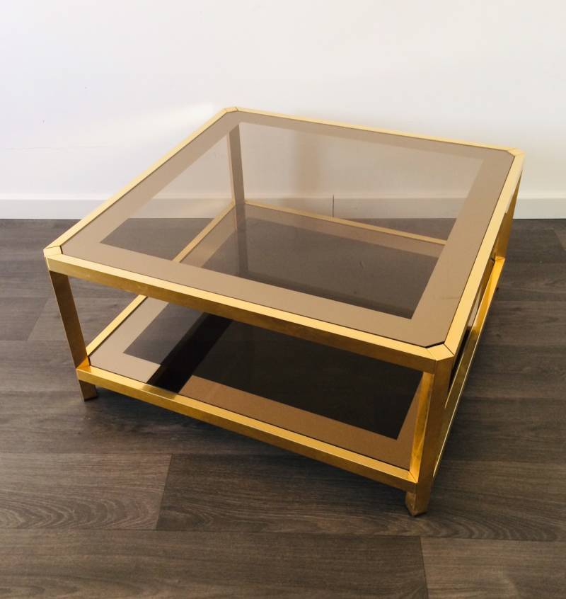 Midcentury Modern 24KT Gilded Square smoked glass Coffee Table by Fedam 1970's
