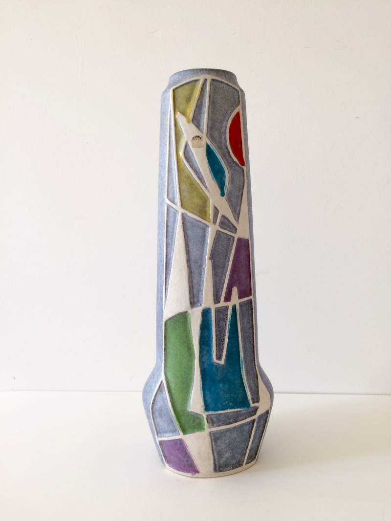 Vintage 1960's Ceramic Abstract Design Ravenna Vase by Bodo Mans for Bay Keramik Germany