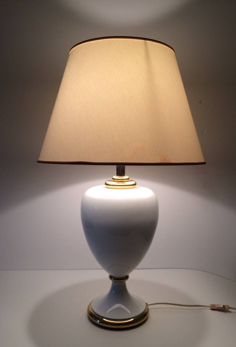 Maison Le Dauphin Hollywood Regency Ceramic Table lamp with shade 1980's France