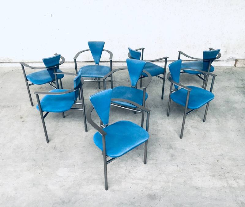 Postmodern Design Set of 8 Dining Chairs by Belgo Chrom 1980's