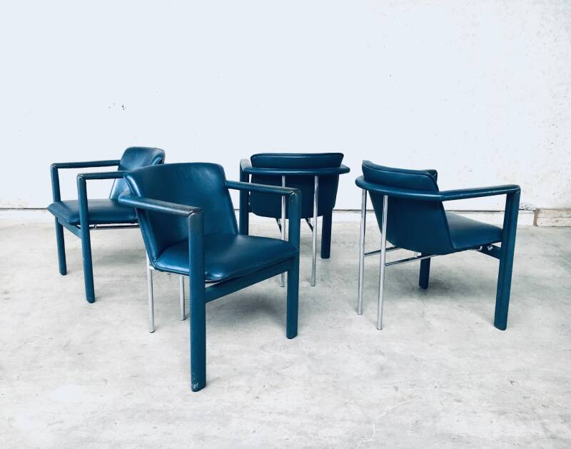 Cachucha Leather Dining Chair set Design by Hugo De Ruiter for Leolux, 1990's