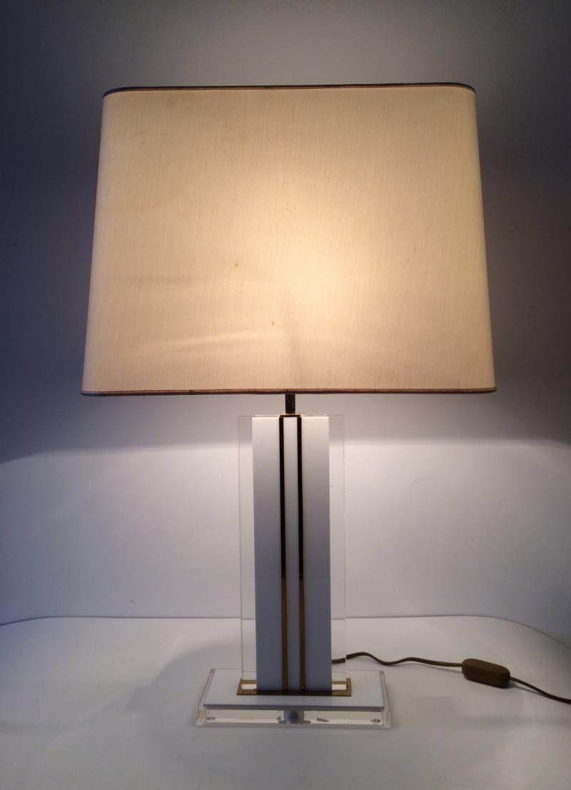 Midcentury Modern Design Lucite & Brass Table Lamp 1970's