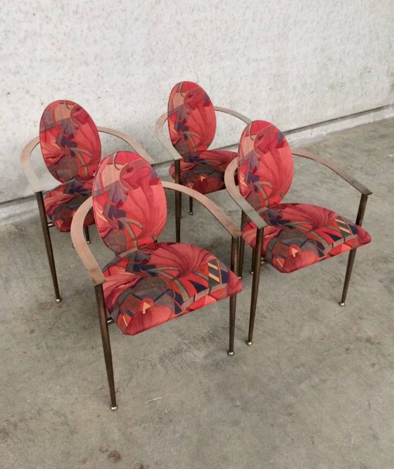 Set of 4 copper metal Arm Chairs by Belgo Chrom Design 1970's