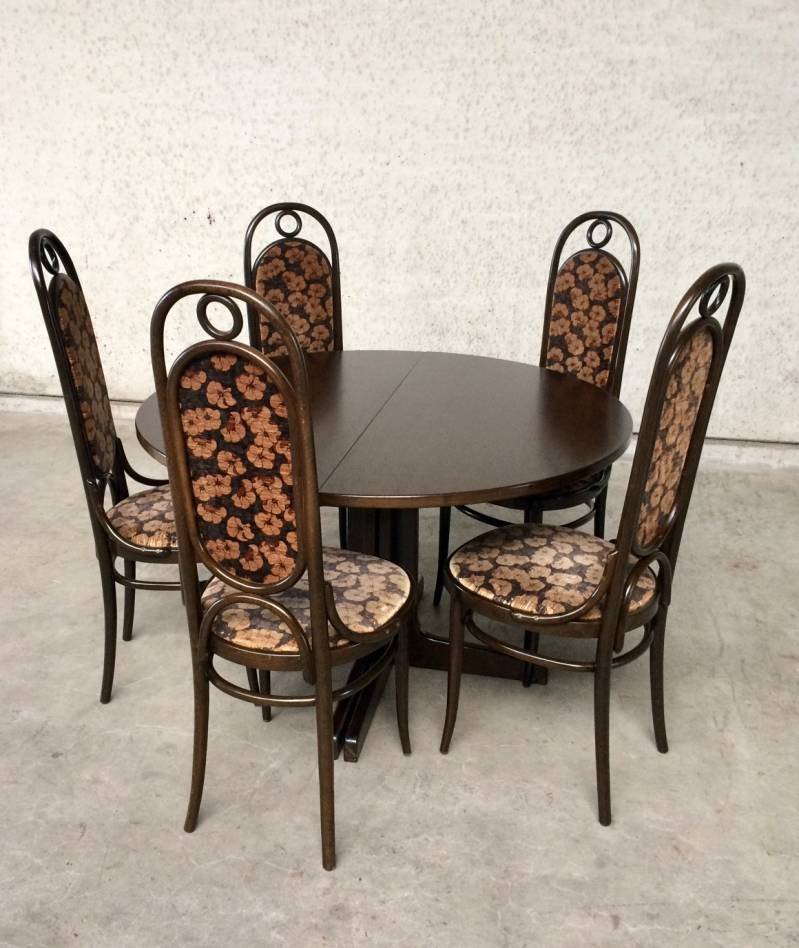 Thonet 79 Dining Set of 5 207R 'Long John' Chairs & Extendable Table 1979