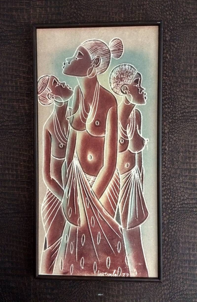 Midcentury Original African Art Sand Painting on Zaire Canvas Bag Signed