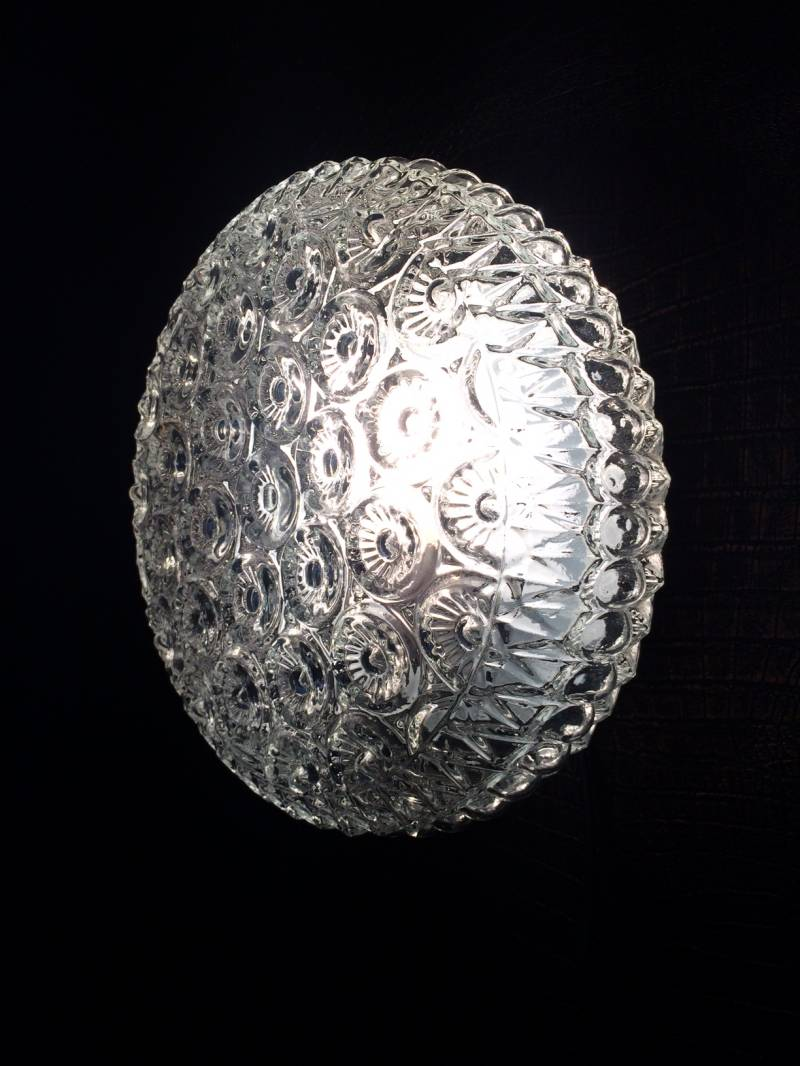 Midcentury Modern Design Large Flowers Glass Wall Lamp Sconce 1970's